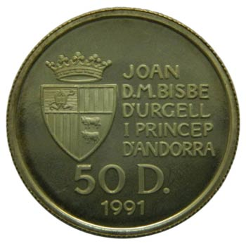 Andorra. 50 diners. 1991. KM#70. ...